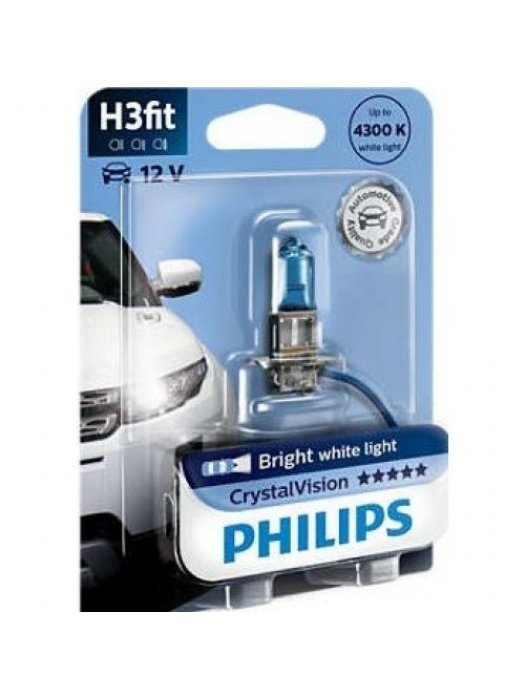 Lamp Car Philips H3 Crystal Vision 12V 55W 4300K 1Τμχ 12336CVB1